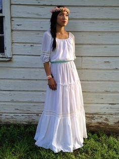 Vintage Gypsy Style Wedding Dress // 1970s Maxi by HouseofCeremony, $138.00