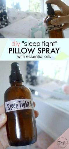 """This DIY """"Sleep Tight"""" natural pillow spray uses calming essential oils and natural ingredients to improve sleep quality & promote feelings of calm, rest, and relaxation. Also includes tips on which essential oils are safe for kids, and which essential oils are best for relaxation and stress relief."""