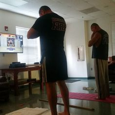 Namaste right here and watch you two attempt #yoga for the first time. Good rule of thumb don't be the first guy to do anything new at the firehouse.      555 Fitness is a Firefighter owned and operated Charity. Our goal is to reduce the leading killer of firefighters cardiac related disease. We do this by providing free workouts nutritional advice and fitness equipment to firefighters in need. This is made possible through our partners private donations from our followers and the sale of…