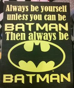 Batman Silhouette cameo/portrait DIY project for kids room  Vinyl on latex paint on wall canvas