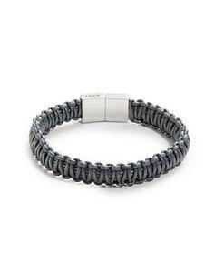 Zack Leather Macrame Bracelet Men's Grey