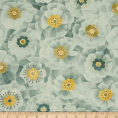 Moda Lulu Full Blooms Mist from @fabricdotcom Designed by Chez Moi for Moda Fabrics, this cotton print fabric is perfect for quilting, apparel and home decor accents. Colors include shades of mist blue and yellow.