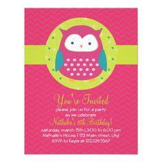 Retro Cute Owl Purple & Green Girly Birthday Party Custom Announcements