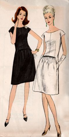 Vogue Special Design 6761; ca. 1966; One Piece Dress: Slightly fitted dress has wide scooped neckline and dropped shoulders. Upper part of dress hangs loose over front skirt panel which gathers onto stay. Pockets in panel seams. Size 14 Bust 34 Waist 26 Hip 36 UNCUT FREE SHIPPING