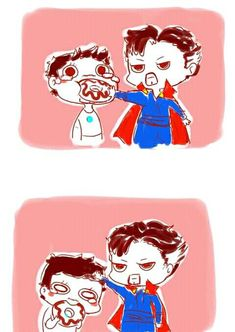 Sherlock Besties headcanon: Strange helps with Tony's eating disorder Marvel Avengers, Memes Marvel, Baby Avengers, Avengers Memes, Marvel Funny, Marvel Dc Comics, Superfamily Avengers, Spideypool, Stucky