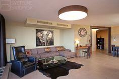 Svetelný strop CIR 1000 s látkovým dekórom dokonale ladí s etno štýlom priestoru. Bratislava