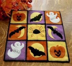 """Happy Halloween!"" Wool Applique Penny Rug Candle Mat Pattern Cath's Pennies Designs"