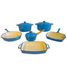 $369.99 | Le Chef 9-Piece Enamel Cast Iron Blue Cookware Set, Super Sale! | (CLICK IMAGE TWICE FOR UPDATED PRICING AND INFO) See More Enamel Cast Iron Cookware Sets at www.momsbestkitchen.com/product-category/cast-iron-cookware-sets/