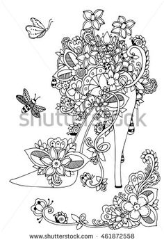 Vector illustration zentangl, women s shoes with flowers and floral. Doodle drawing. Coloring book anti stress for adults. Meditative exercises. Black and white.