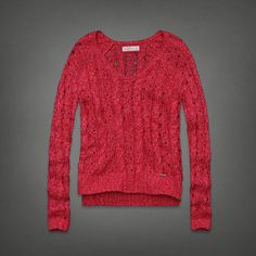 Womens Abercrombie Cable Knit Sweater Pullover Layering V Neck Pink XS | eBay