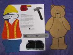 Construction Bear Felt Board Story This very cute. Flannel Board Stories, Felt Board Stories, Felt Stories, Flannel Boards, Construction Theme Preschool, Construction For Kids, Circle Time Activities, Sequencing Activities, Summer Reading 2017