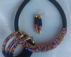 Multi color beaded Zulu necklace Zulu necklace Maasai Beaded | Etsy