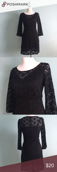Black Floral Lace Dress Beautiful black floral lace dress by poetry clothing. Only worn once and in great condition. Comes with separate black slip. Size small. Poetry Dresses