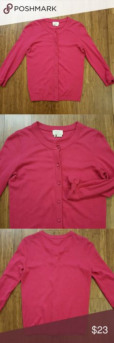 Kate Spade pink cardigan Good to fair condition Kate Spade cardigan in a strong pink shade. I think Caroline style. Body and back are good. Some pilling and wear at armpits I tried to show in the last picture. Not very obvious but present. Cardigan is functional with good color. Bow at end of each cuff. Size extra small. Measures approximately 16 inches armpit to armpit, 21.5 top of collar to hem. No trades, PP,  or lowball offers pls. Cheaper on M. kate spade Sweaters Cardigans