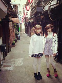 新人類 Japanese Street Fashion, Tokyo Fashion, Asian Fashion, Girl Fashion, Womens Fashion, White Tights, Asian Style, Alternative Fashion, Fashion Details
