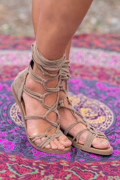 Bohemian Suede Tie Wrap Sandals (Beige) - NanaMacs.com - 1