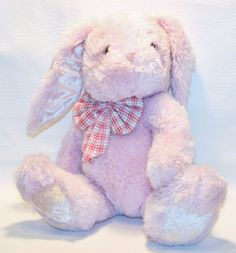 "Pink Plush 16"" Lop ear Bunny Rabbit with plaid Bow Lovey Stuffed Animal Toy #Walmart"