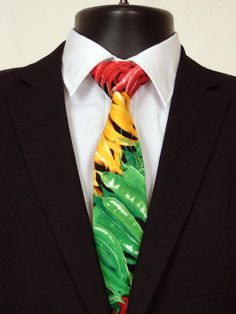 Hot Pepper Necktie, Hot Pepper Tie, Mens Necktie, Mens Tie, Red Pepper, Green Pepper, Multi Colored, Fathers Day, Birthday, Gift, Yellow by EdsNeckties on Etsy