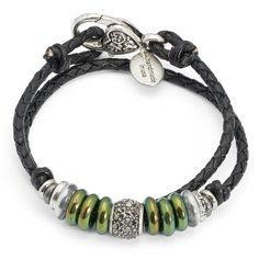 The Mini Julietteis a single strandround braid leather wrap bracelet featuring silverplate, glass, hematite, and mixed metal beads. Designed to be worn as a b