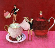 Loving and sharing art from around the globe Cafe Art, Paper Animals, Create Words, Tea Art, So Creative, Freelance Illustrator, Tea Roses, Tea Time, Illustration Art