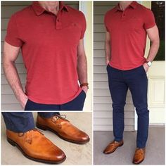 Elevated spring casual basics from JACHS NY Do you like this classic outfit❓ Polo, chinos: JACHS NY Shoes: Allen Edmonds Watch: Thread Etiquette Polo Shirt Outfits, Polo Outfit, Big Men Fashion, Work Fashion, Style Masculin, Look Man, Stylish Mens Outfits, Business Casual Outfits, Men Style Tips
