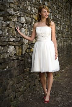Anna - Short Wedding Dress - Eco Friendly Strapless Dress for Beach or Reception with Ruched Bodice and Natural Waist on Etsy, $495.00
