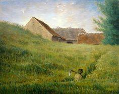 Jean-Francois Millet, Path through the Wheat about 1867 on ArtStack #jean-francois-millet #art