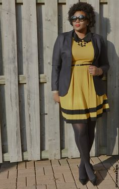 My Curves & Curls™   A Canadian Plus Size Fashion blog: {OUTFIT POST: BLACK AND MUSTARD}