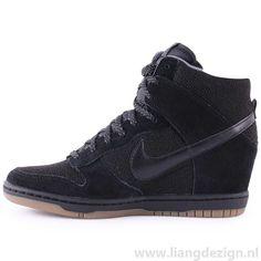 Nike Dunk Sky Hi Essentiele Vrouwen Wedge sneakers in zwart Gum Leather \u0026amp; Suede FqZ31a