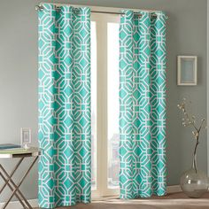 Clay Alder Home Intelligent Design Alana Geometric Print Curtain Panel ( No Sew Curtains, Pleated Curtains, Rod Pocket Curtains, Grommet Curtains, Window Curtains, Teal Curtains, Pattern Curtains, Drapery, Intelligent Design