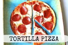 tortilla pizza drop the pepperoni and load on the veggies- yum!