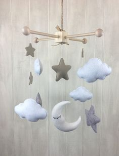 Baby mobile - moon star and cloud mobile - baby crib mobile - hanging mobile - star mobile - cloud mobile - moon mobile - neutral mobile Star Mobile, Cloud Mobile, Felt Mobile, Modern Crib, Modern Nursery Decor, Boho Nursery, Diy Crib, Baby Crib Mobile, Diy Cot Mobile