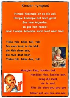 Hompie Kedompie | Tikke-tok | Handjies klap, koekies bak | Afrikaanse rympies en liedjies Preschool Learning, Classroom Activities, Preschool Activities, Grade R Worksheets, Storybook Party, School Songs, Rhymes Songs, Kids Poems, Teaching Time