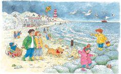 de Am Strand. Picture Writing Prompts, How To Speak French, Language Development, School Life, Toddler Preschool, Beach Art, Art Plastique, Cute Art, Storytelling