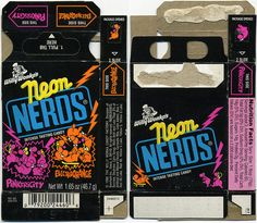 I'm always excited to get older Wonka candy pieces, and this was no different. I think this Neon Nerds box is fantastic! 90s Candy, Nerds Candy, Retro Candy, Vintage Candy, Wonka Factory, Discontinued Food, Candy Logo, Simple Minds, Vintage Packaging
