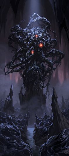 "Shoggoth was a massive amoeba-like creature made out of iridescent black slime, with multiple eyes ""floating"" on the surface. They are described as ""protoplasmic"", lacking any default body shape and instead being able to form limbs and organs at will."
