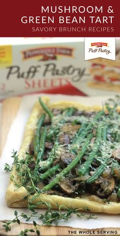 Rustic and savory Easy Mushroom Green Bean Tart. Great dish for a Black Friday brunch, perfect way to use Thanksgiving leftovers. Pepperidge Farm Puff Pastry, Vegetarian Menu, Puff Pastry Sheets, Puff Pastry Recipes, Dinner Sides, Vegan Options, Meatless Monday, Yummy Appetizers, Brunch Recipes