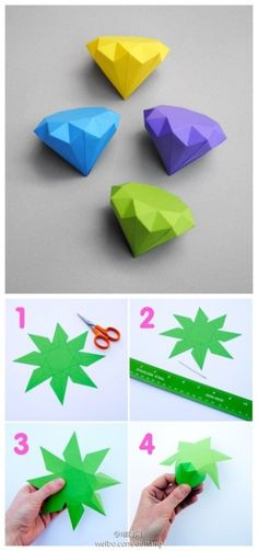 54 Ideas for origami diamond diy paper Diy Origami, Origami And Kirigami, Origami Tutorial, Oragami, Geometric Origami, Cute Crafts, Diy And Crafts, Paper Crafts, Paper Diamond