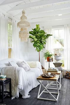 a boho living room she shed with a unique chandelier and potted plants looks sup. , chandelier a boho living room she shed with a unique chandelier and potted plants looks sup. Nachhaltiges Design, Shed Design, Design Ideas, Clever Design, Design Room, Design Elements, Design Trends, Converted Shed, Living Room Designs