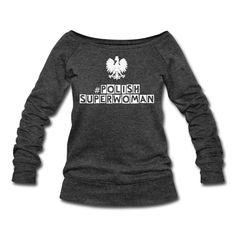 Polish Superwoman Sweater (*Weiß Glitzer*) - Frauen Pullover mit U-Boot-Ausschnitt von Bella