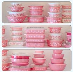 Decorate With Pyrex is part of Pyrex vintage - Vintage Pyrex Dishes, Pink Dishes, Antique Dishes, Vintage Kitchenware, Vintage Glassware, Pyrex Display, Kitchen Items, Kitchen Decor, Pink Pyrex