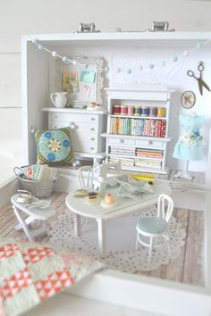 Tea Rose Home: Big Reveal of Small Sewing Room ~ Part 2 - how to make this dollhouse size sewing room
