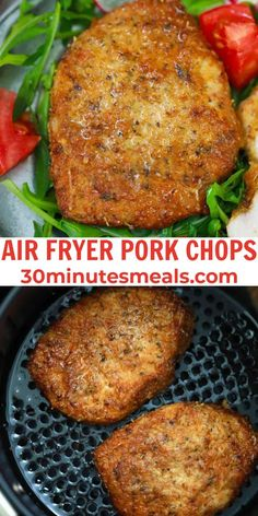 Air Fryer Pork Chops are crispy on the outside and super juicy and tender on the inside. #airfryer #porkchops