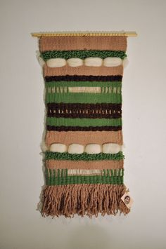 Weaving Wall Hanging Green & Brown by 278studio on Etsy