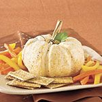 I would use this recipe for the pine cone cheeseball. Love the idea of the mixture of cheeses: extra sharp cheddar, cream cheese, and goat cheese. The Great White Pumpkin Cheese Ball Recipe | MyRecipes.com