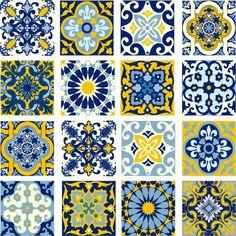 Adesivo de Parede Azulejinho  Lisboa Azul 15x15cm Dona Cereja