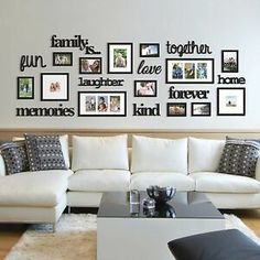 22 Pcs Word Family Is Photo Picture Frame Collage Set Black Home Wall Art Decor 663157248260 Photo Wall Decor, Family Wall Decor, Family Wall Collage, Collage Picture Frames, Diy Picture Frames On The Wall, Black Wall Decor, Hanging Pictures On The Wall, Frame Wall Collage, Family Picture Frames