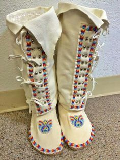 Difference makes us but….in the end we are all related - Traditional Native Healing Native American Moccasins, Native American Clothing, Native American Beauty, Native American Crafts, Native American Beadwork, American Indians, Beaded Moccasins, Over Boots, Native Design