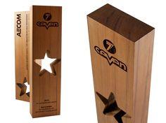 Modern wood star awards. Not glass or acrylic.