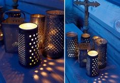 tea lights and cheese graters - wedding lighting idea?  could also be done for cheaper by punching holes in cans - but maybe paint them first?  then they could be thrown in the recycling with little guilt or given to people to reuse at home decorations?